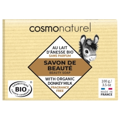 Savon au lait d'ânesse Karité sans parfum Cosmo Naturel - Certifié Nature et Progrès.