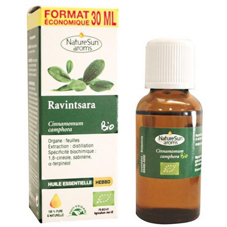 Huile essentielle de Ravintsara Flacon compte gouttes 30ml Naturesun'Aroms économique Bio santé sénior aromathérapie