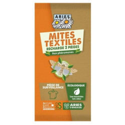 Piège à mites textile, 2 recharges Mitbox Aries action anti-mites par phérormones Bio santé sénior