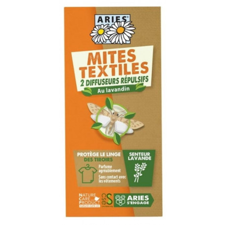 Protection Anti Mites Textiles  2 Diffuseurs répulsifs Aries au lavandin Bio santé sénior
