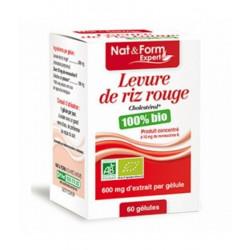 Levure de Riz rouge bio 600 mg 60 gélules 41,7g - Nat et Form