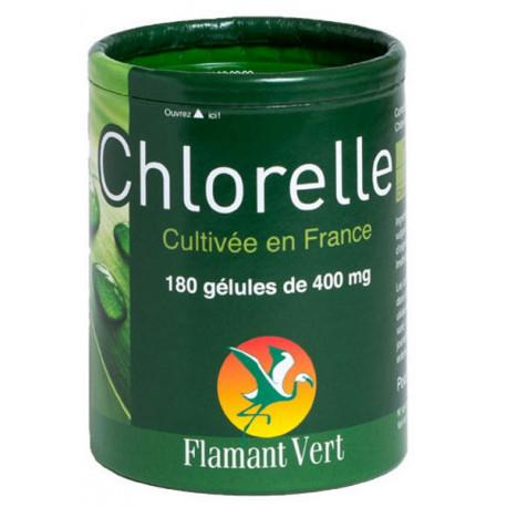 Chlorelle qualité premium origine france 180 gélules de 400 mg Flamant vert Bio santé sénior