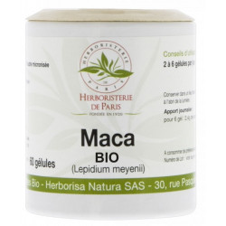Maca Racine Bio 500mg 60 gélules Herboristerie de paris vitalité ménopause Bio santé sénior