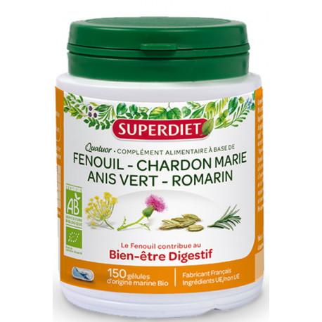 Quatuor Fenouil Bio 150 gélules Super Diet Fenouil Chardon marie anis vert romarin Bio santé sénior