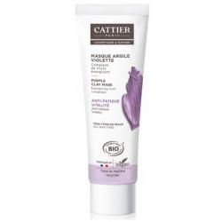Masque anti fatigue à l'argile violette 100 ml Cattier tonique et revitalisante Bio santé sénior