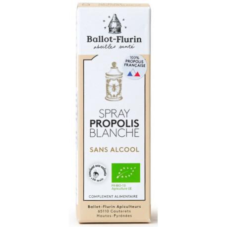 Spray propolis blanche sans alcool 15ml Ballot Flurin action douce et progressive Bio sante senior