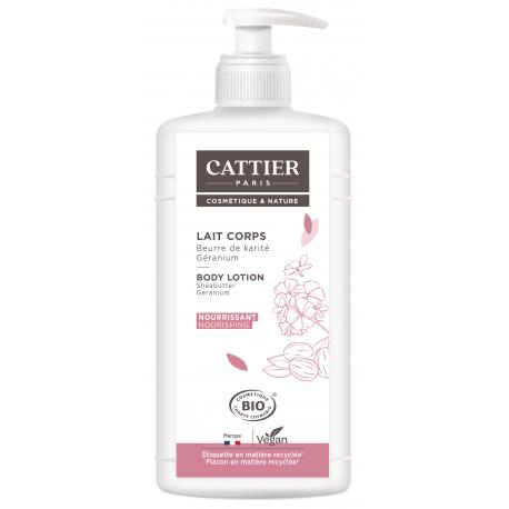 Lait Corps Beurre de Karité Géranium 500ml  Cattier lait corporel hydratant Bio santé sénior