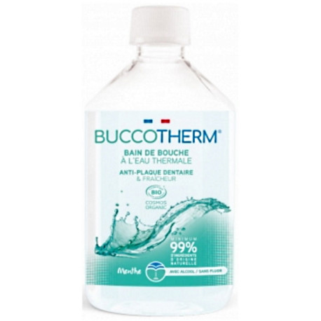 Bain de bouche menthe naturelle à l'eau thermale 300ml Buccotherm haleine fraiche Bio santé sénior