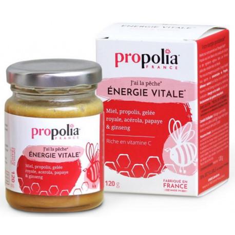 Energie Vitale Pot 120 gr Propolia Miel Gelée Royale Extrait Pur de Propolis Ginseng Papaye Vitamine C d'Acérola