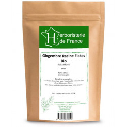 Tisane Gingembre racine BIO 30 gr Herboristerie de France zingiber officinalis tonus digestion Bio santé sénior