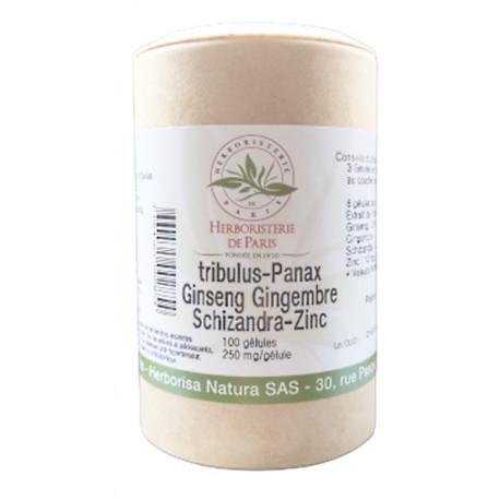 Libido Tribulus Panax Ginseng Gingembre Schisandra Zinc 100 Gélules Herboristerie de paris vigueur Bio sante senior