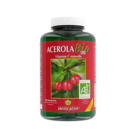 Acérola BIO 500 pot familial 100 comprimés - Phyto-actif