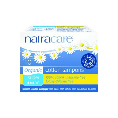 10 Tampons Super sans applicateur en coton bio Natracare - tampon bio