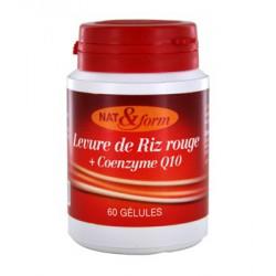Levure de Riz rouge + coenzyme Q10 normalise le cholestérol 60 gélules - Nat et Form