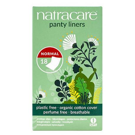 18 protège slips coton bio naturels aux formes arrondies emballés Natracare