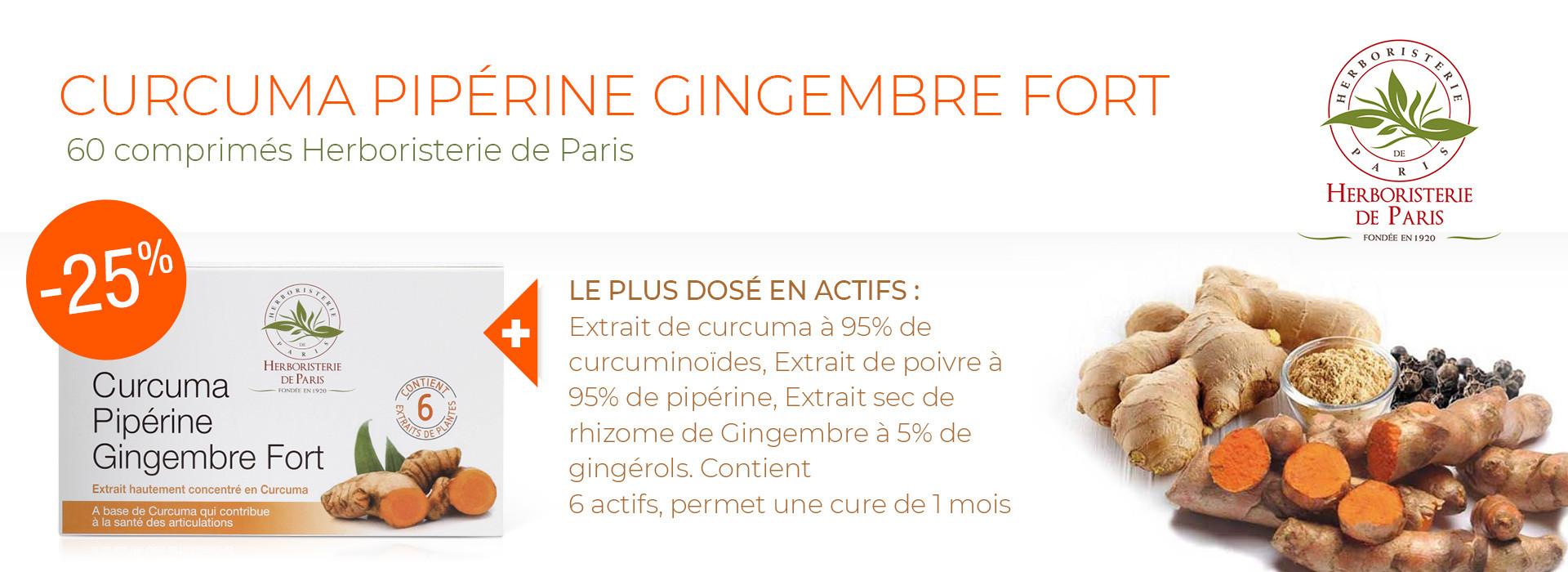 Offre d'essai -25% sur le Curcuma Pipérine Gingembre Fort