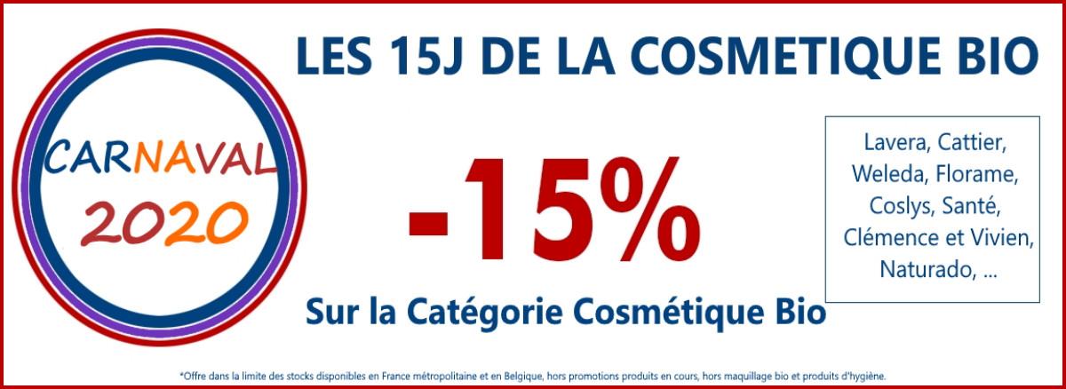 15% sur toute la cosmétique bio pour carnaval