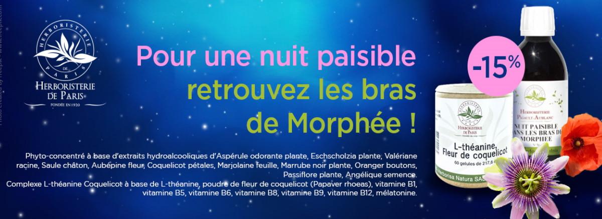 15% de remise sur le phyto concentré nuit paisible et sur le complexe L théanine coquelicot herboristerie de paris